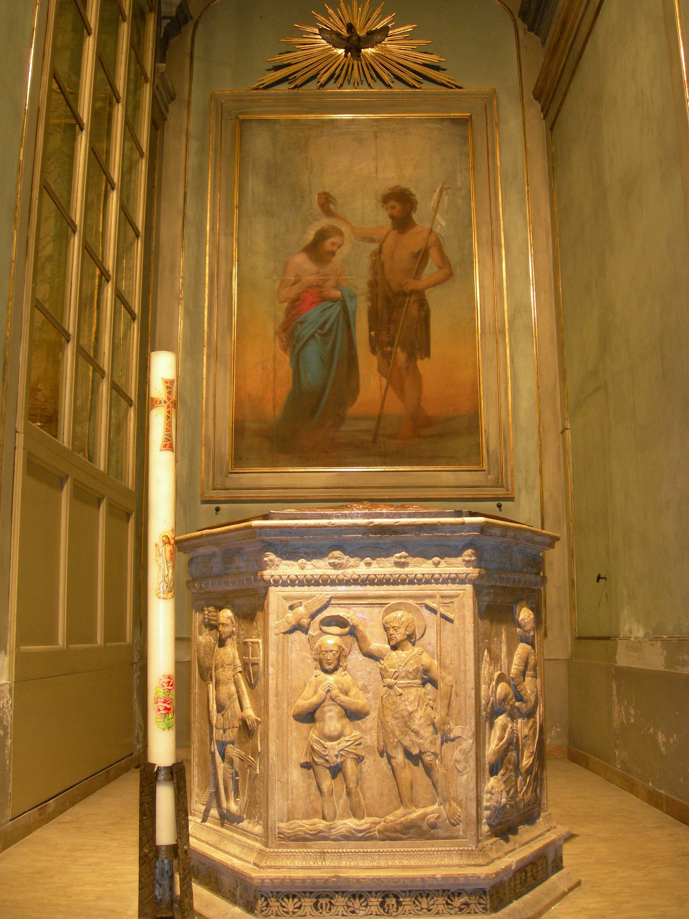 Baptismal font of the Cathedral where Clelia was baptized in Forli / Italy.